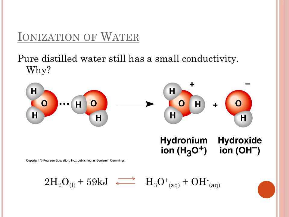 Ionization of Water Pure distilled water still has a small conductivity.