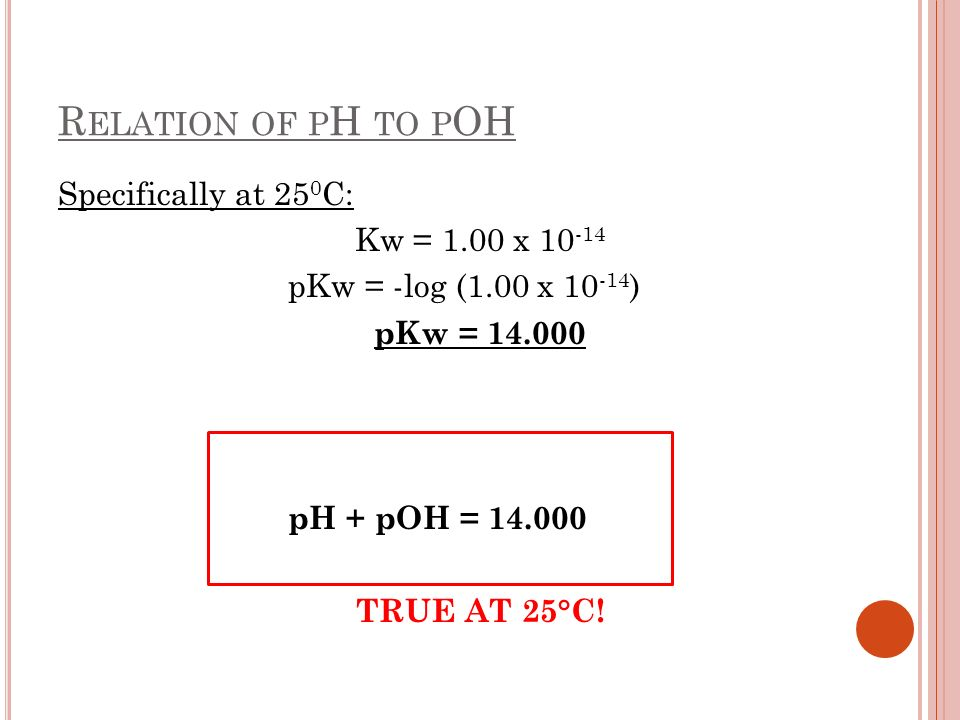 Relation of pH to pOH Specifically at 250C: Kw = 1.00 x 10-14
