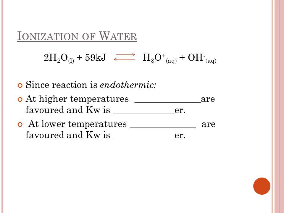 2H2O(l) + 59kJ H3O+(aq) + OH-(aq)