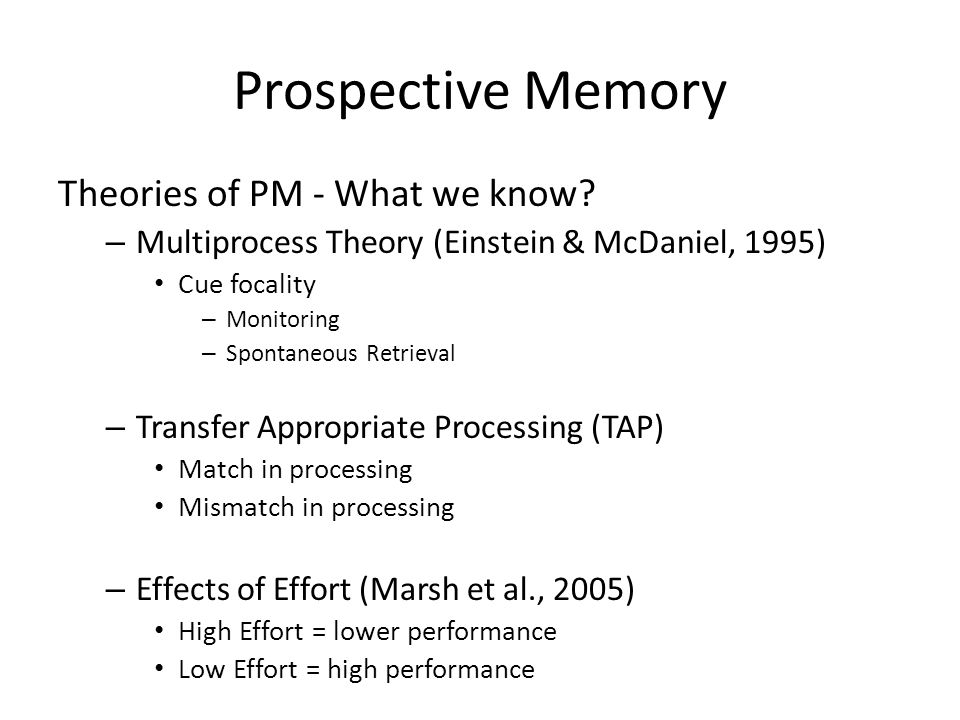 Prospective Memory Theories of PM - What we know