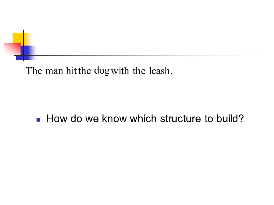 The man hit the dog with the leash. How do we know which structure to build