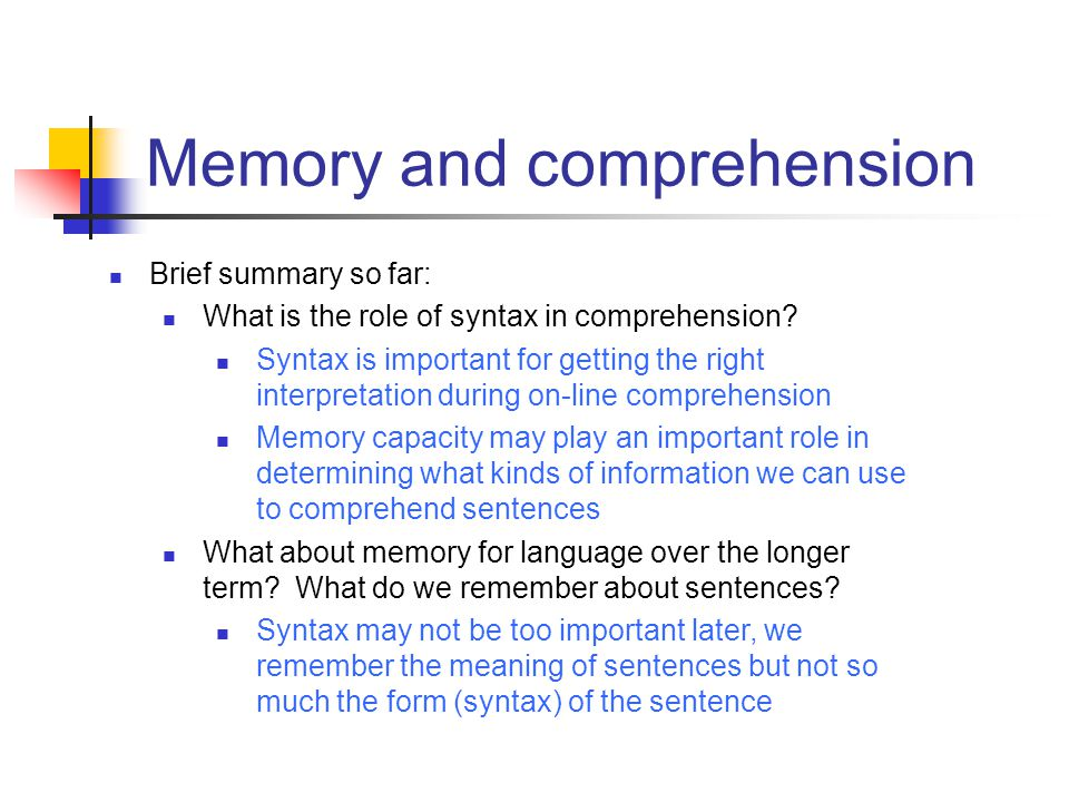 Memory and comprehension
