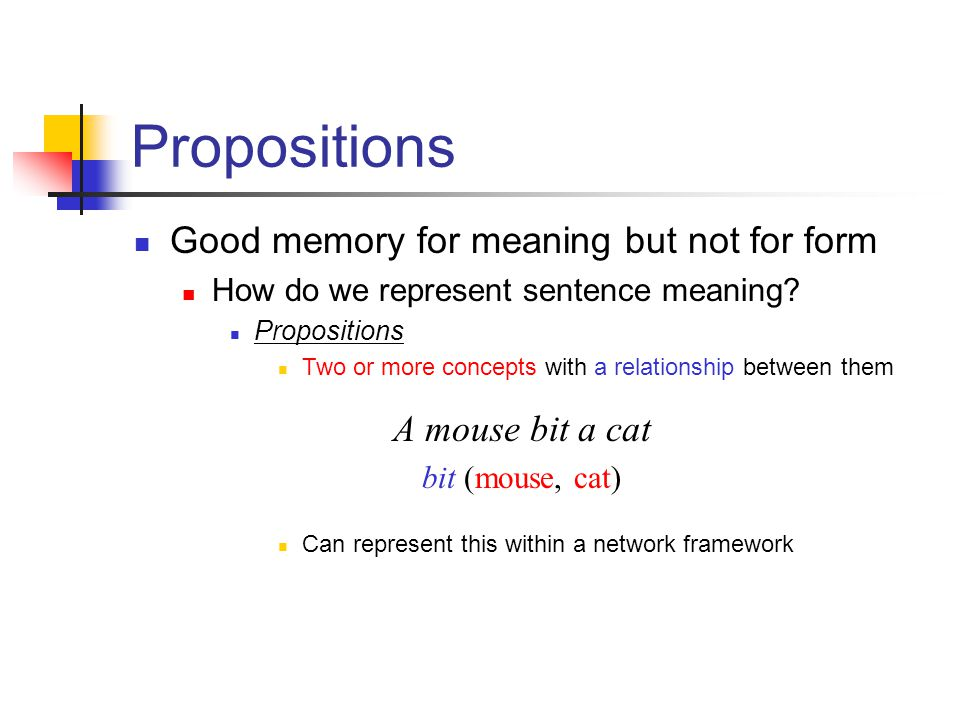 Propositions Good memory for meaning but not for form