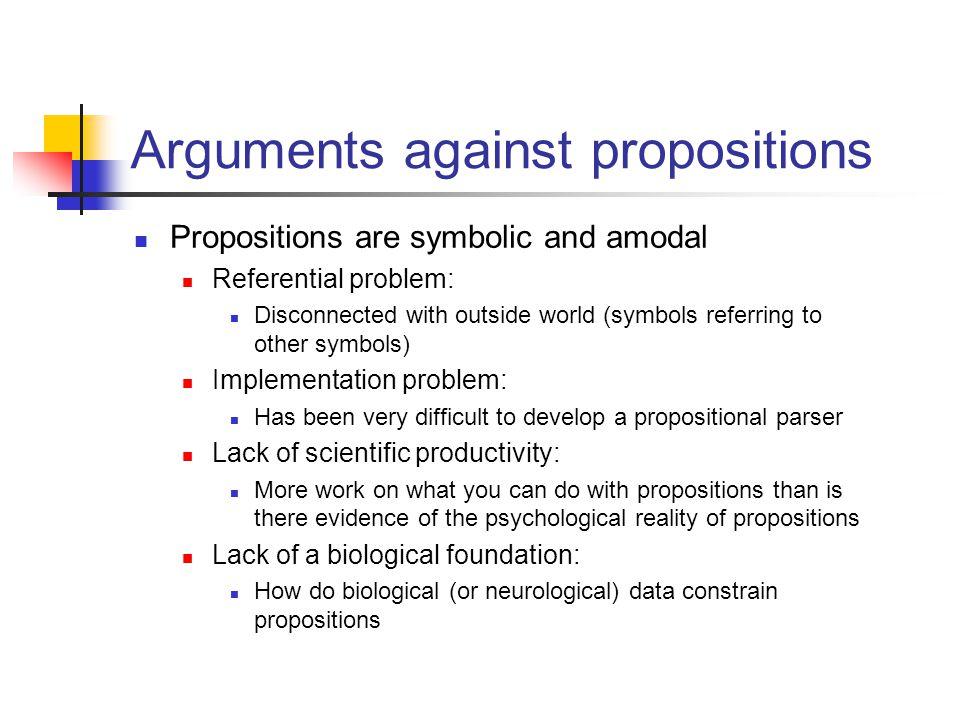 Arguments against propositions