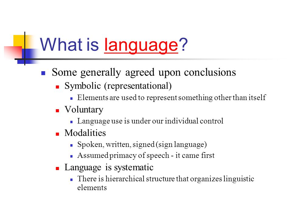 What is language Some generally agreed upon conclusions
