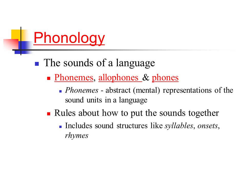 Phonology The sounds of a language Phonemes, allophones & phones