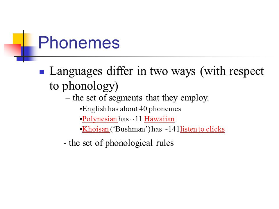 Phonemes Languages differ in two ways (with respect to phonology)