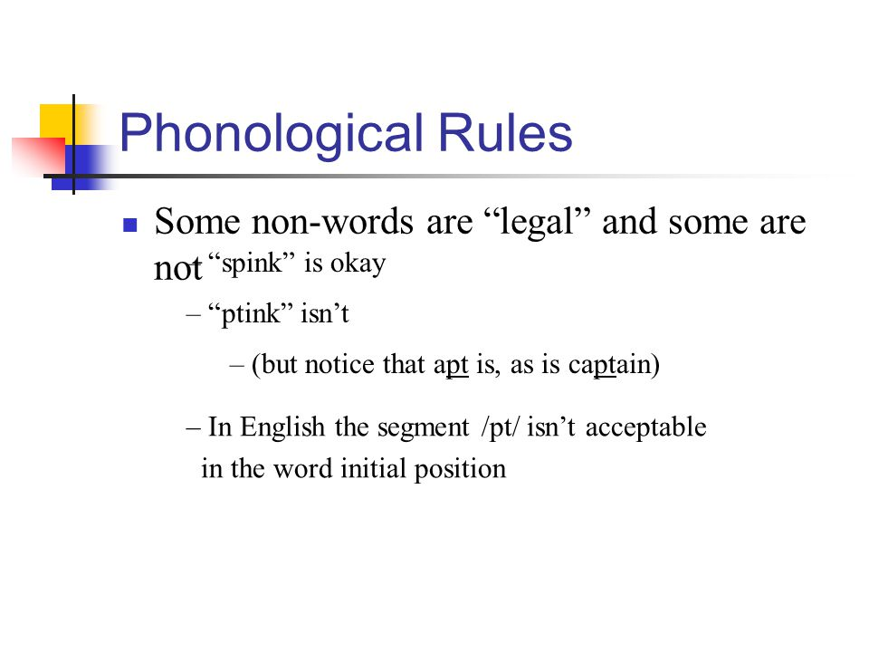 Phonological Rules Some non-words are legal and some are not