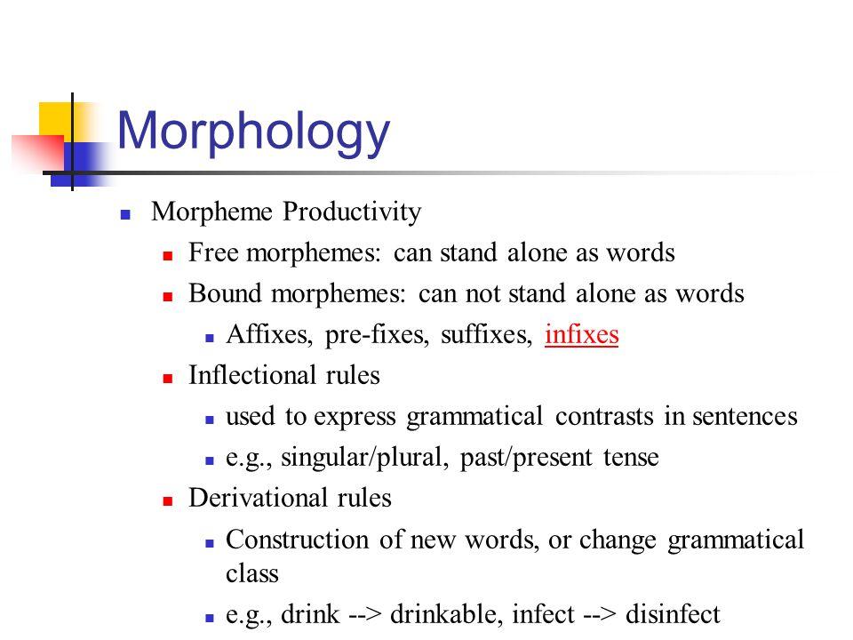 Morphology Morpheme Productivity