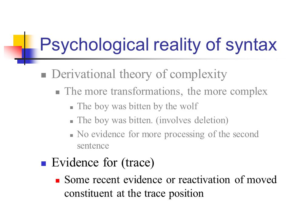 Psychological reality of syntax