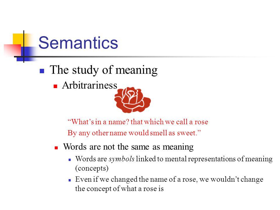 Semantics The study of meaning Arbitrariness
