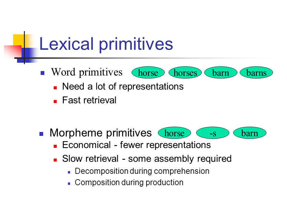 Lexical primitives Word primitives Morpheme primitives horse horses
