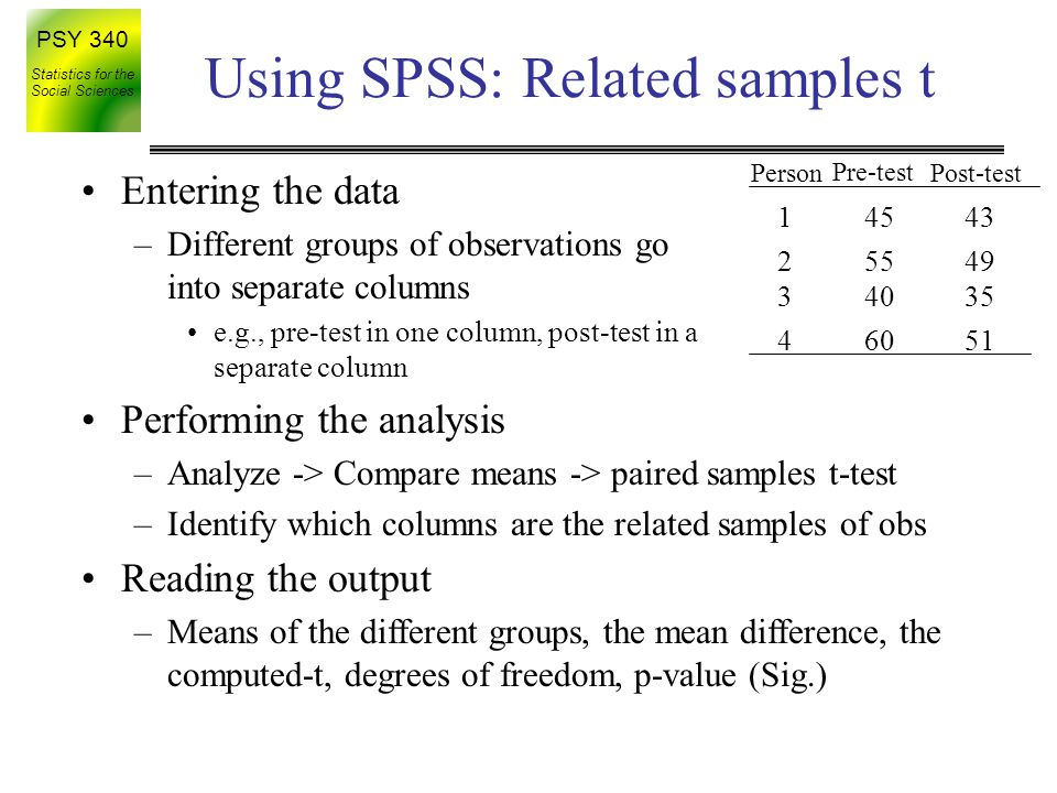 Using SPSS: Related samples t