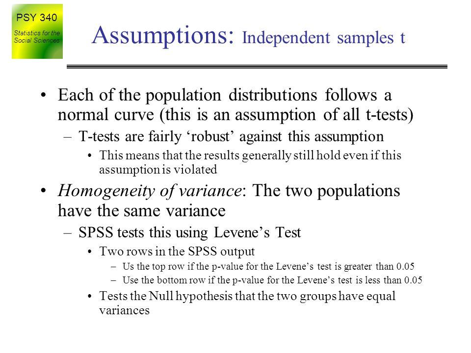 Assumptions: Independent samples t