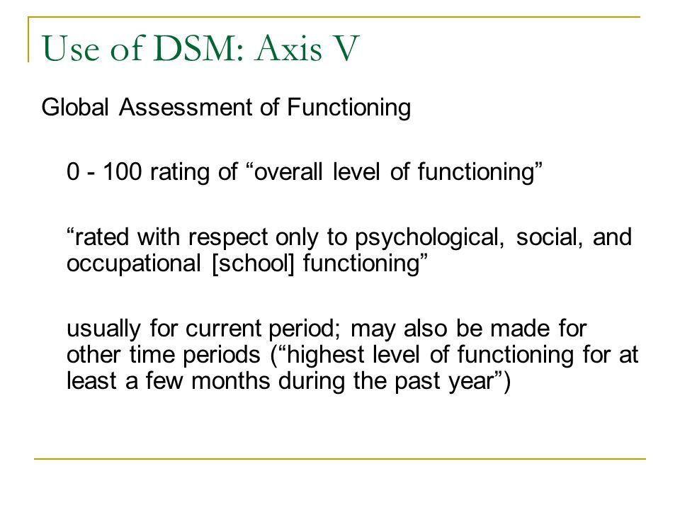 Use of DSM: Axis V Global Assessment of Functioning