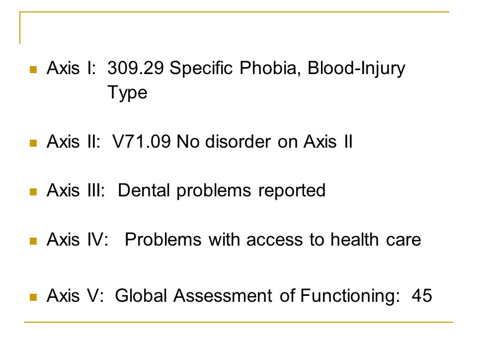 Axis I: 309.29 Specific Phobia, Blood-Injury
