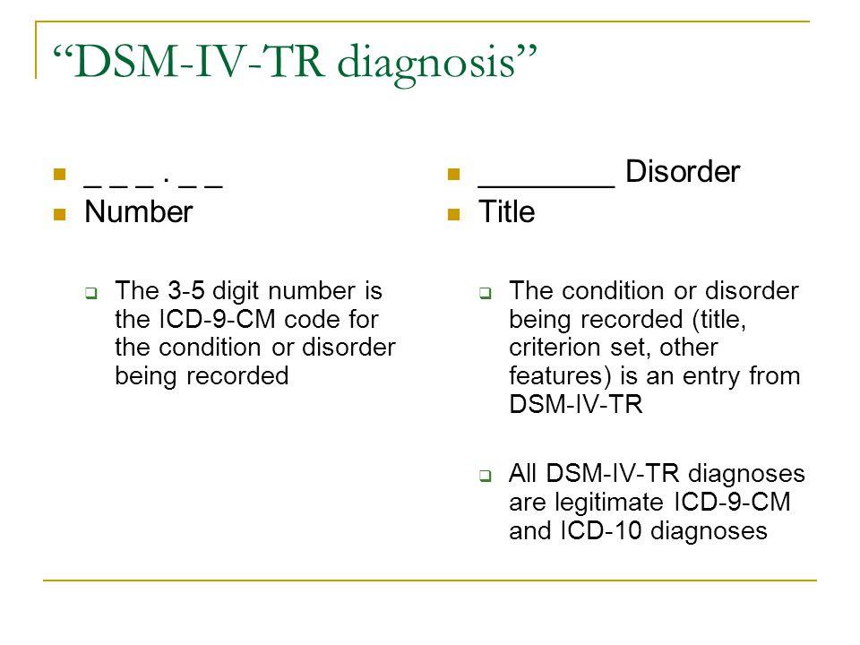 DSM-IV-TR diagnosis