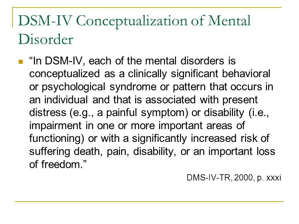 DSM-IV Conceptualization of Mental Disorder