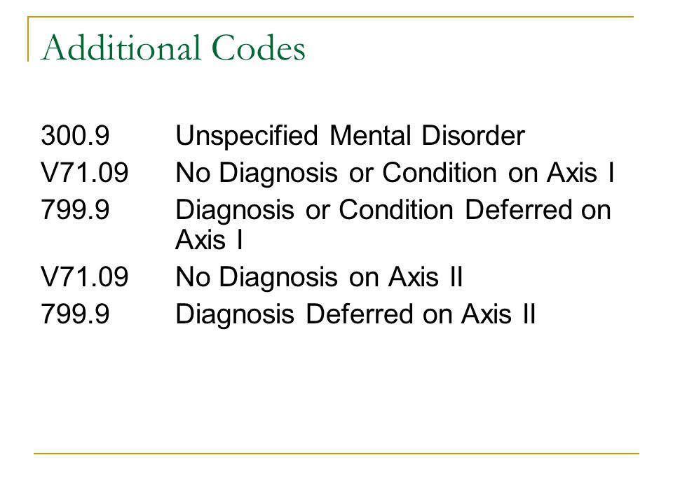 Additional Codes 300.9 Unspecified Mental Disorder
