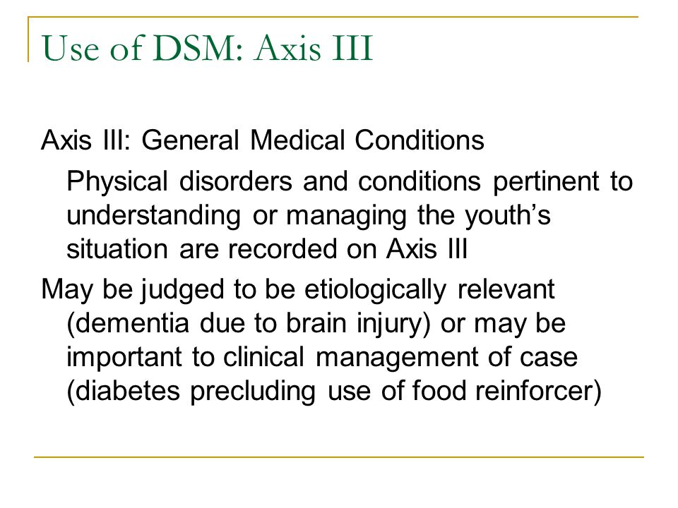 Use of DSM: Axis III Axis III: General Medical Conditions