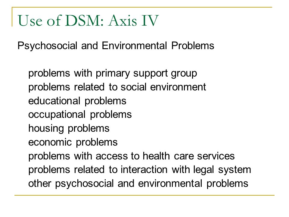 Use of DSM: Axis IV Psychosocial and Environmental Problems