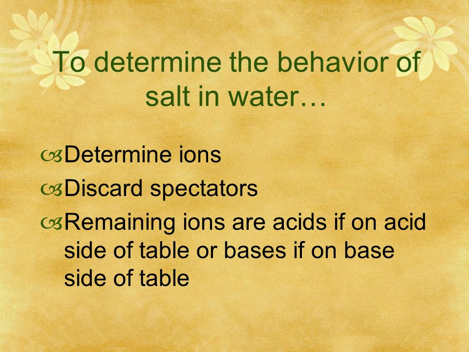 To determine the behavior of salt in water…