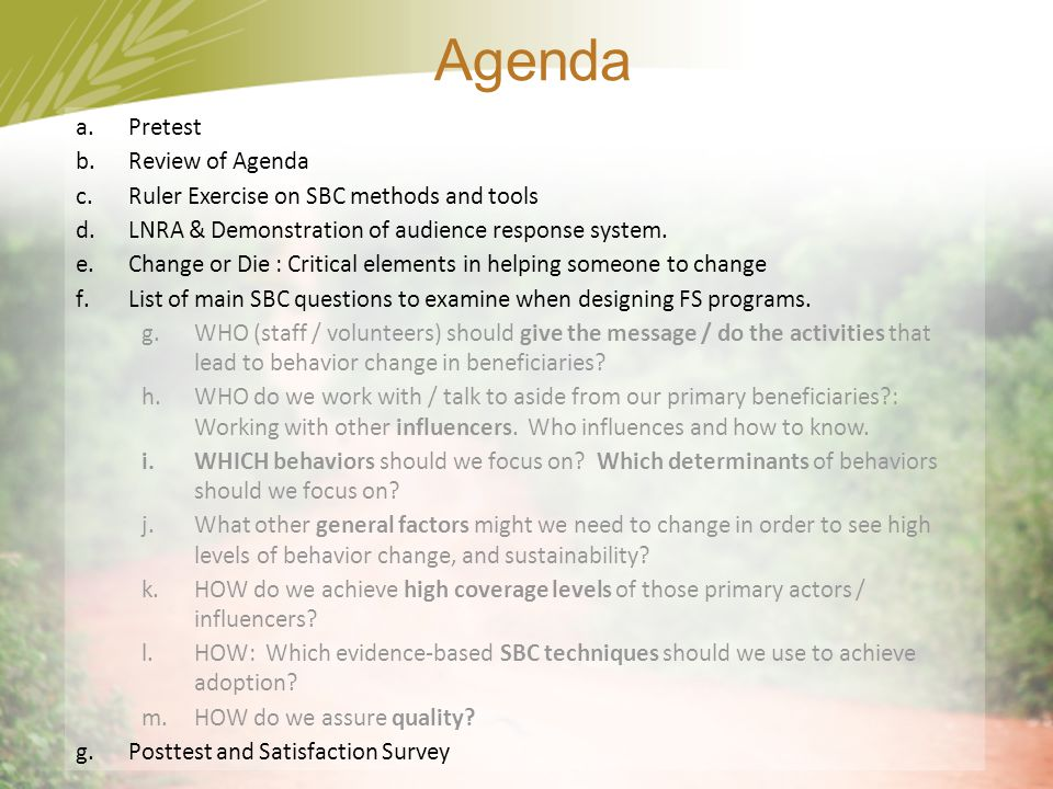 Agenda Pretest Review of Agenda