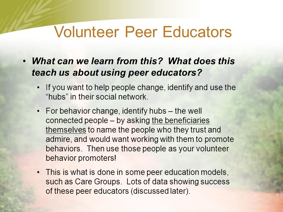 Volunteer Peer Educators
