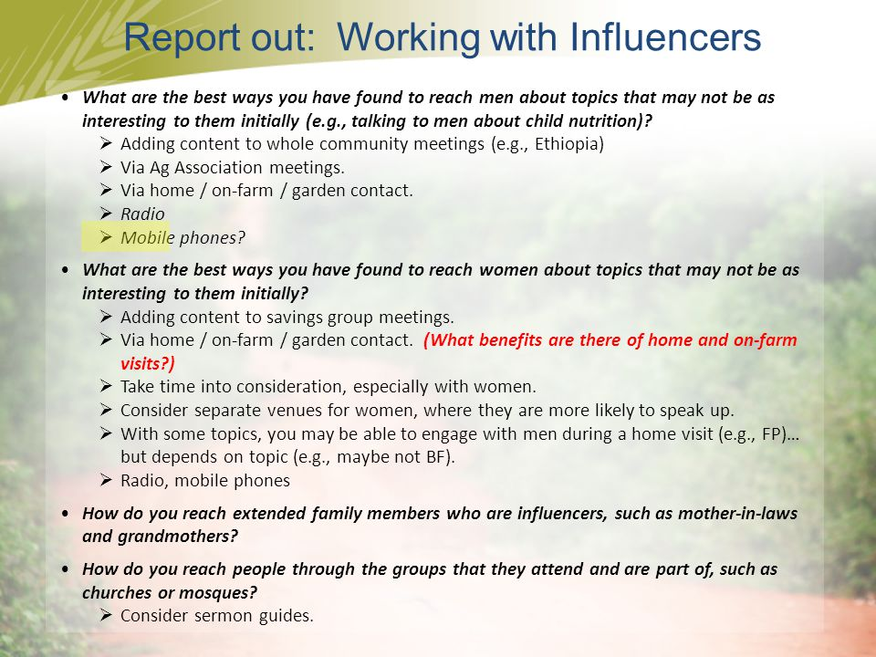 Report out: Working with Influencers