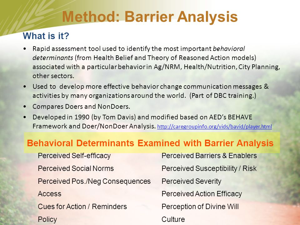Method: Barrier Analysis