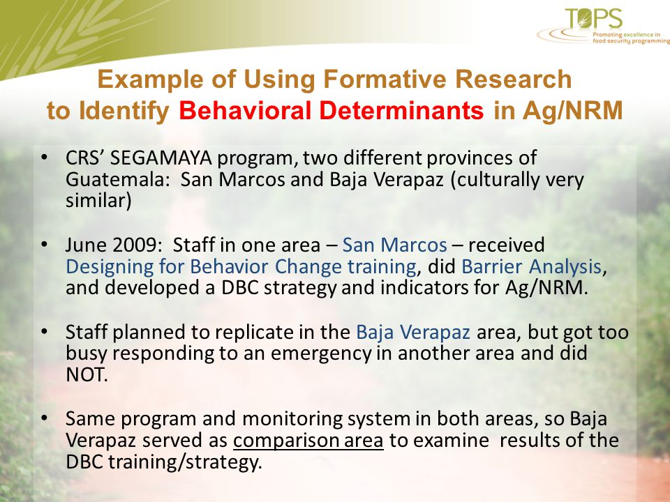 Example of Using Formative Research to Identify Behavioral Determinants in Ag/NRM