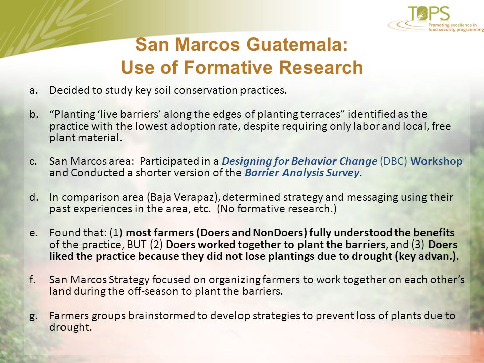 San Marcos Guatemala: Use of Formative Research
