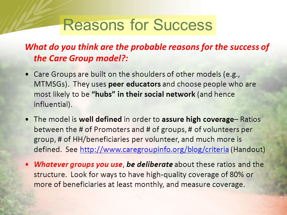 Reasons for Success What do you think are the probable reasons for the success of the Care Group model :