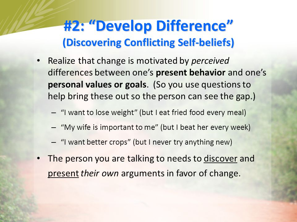 #2: Develop Difference (Discovering Conflicting Self-beliefs)