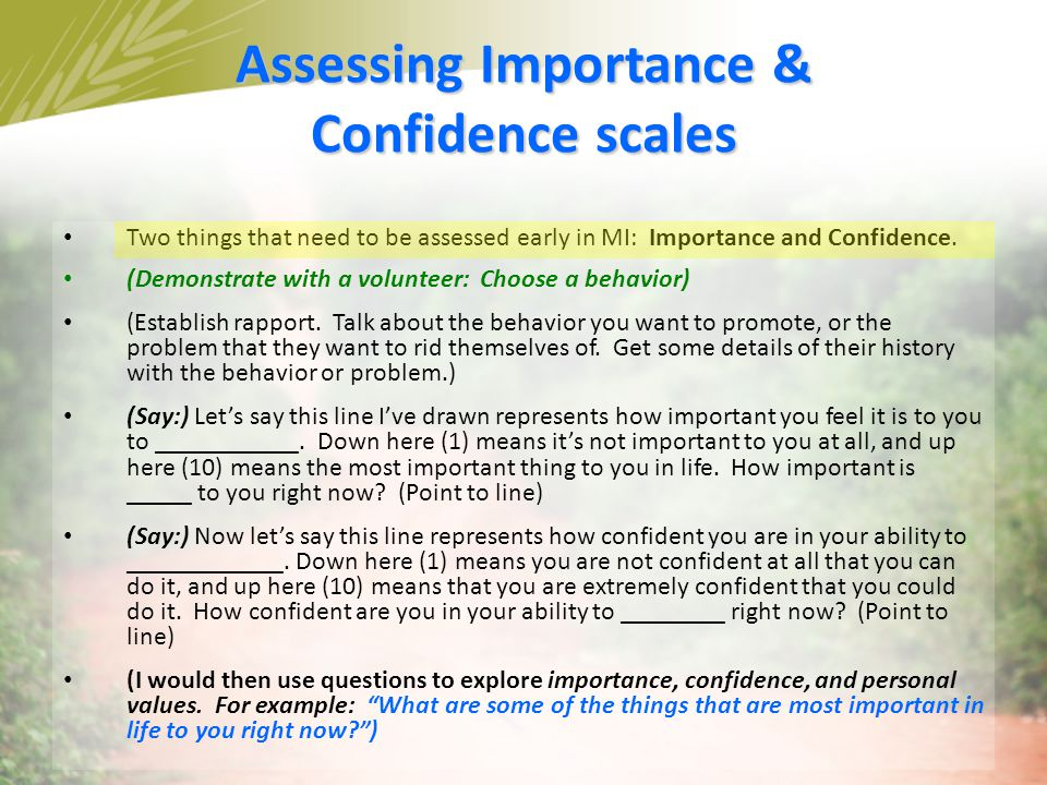 Assessing Importance & Confidence scales