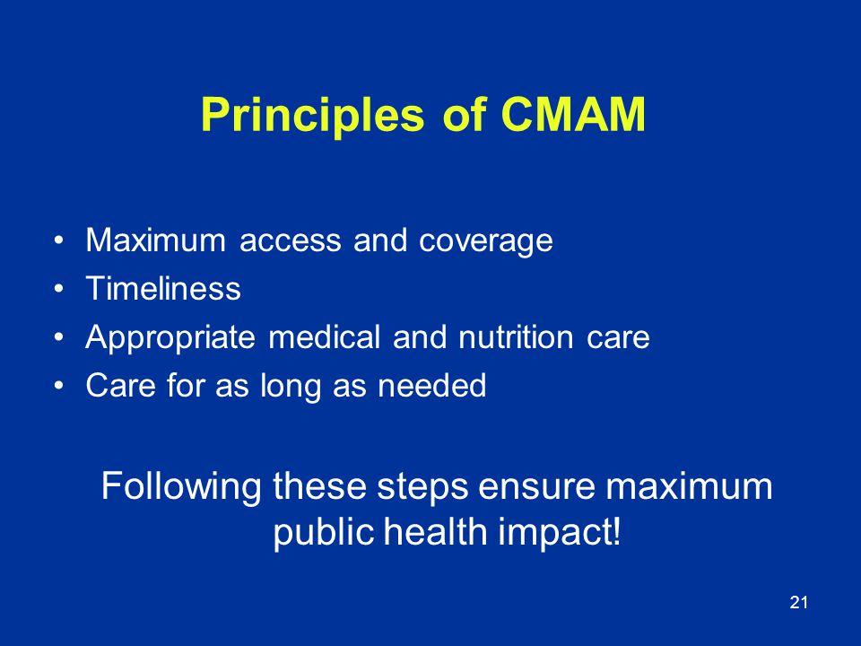 Following these steps ensure maximum public health impact!