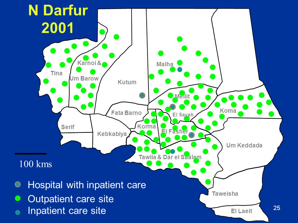 N Darfur 2001 100 kms Hospital with inpatient care
