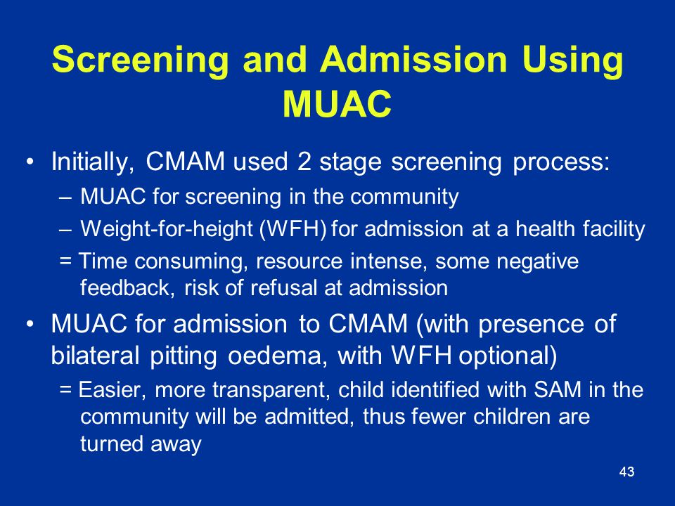 Screening and Admission Using MUAC