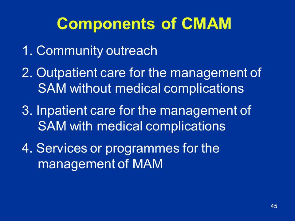Components of CMAM 1. Community outreach