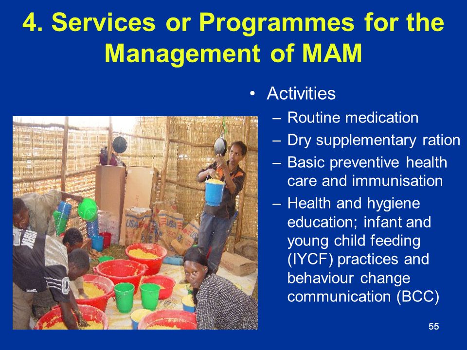 4. Services or Programmes for the Management of MAM