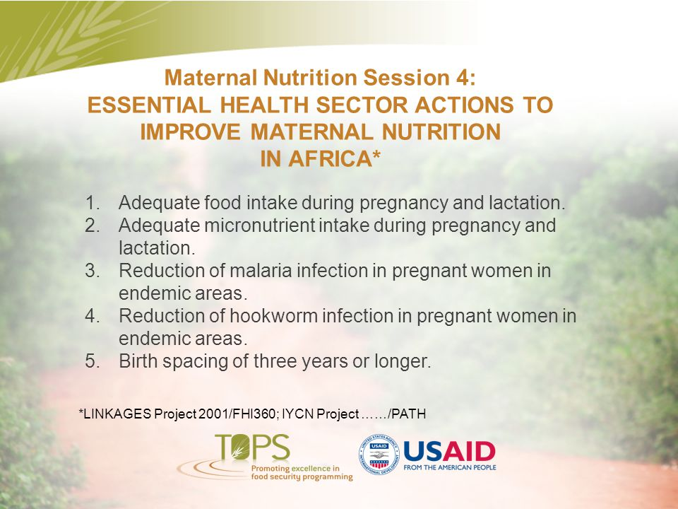 Maternal Nutrition Session 4: