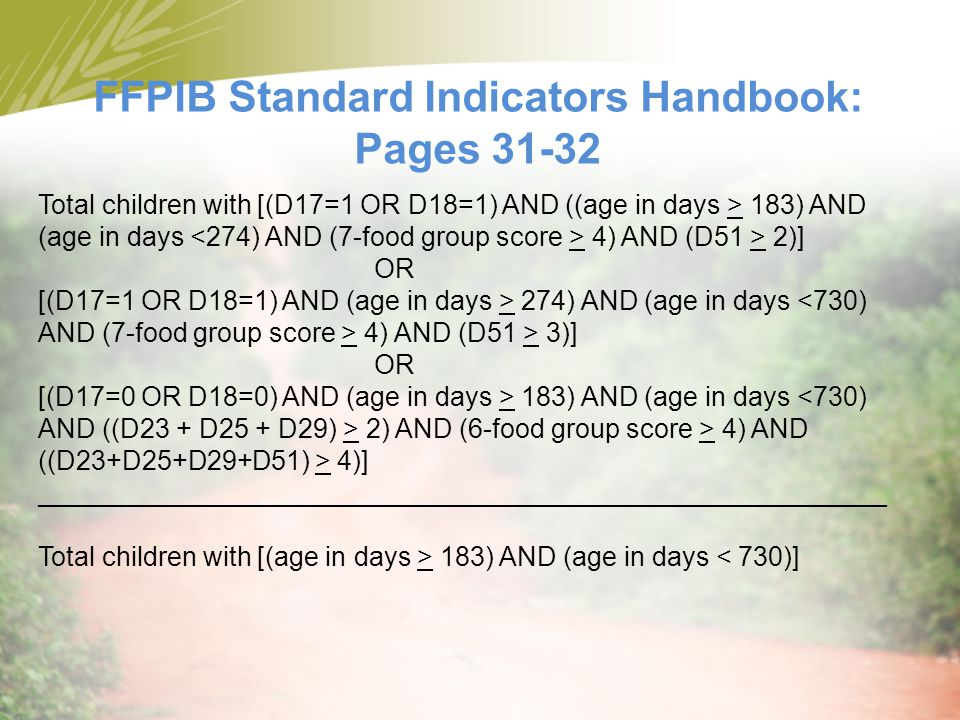 FFPIB Standard Indicators Handbook: Pages 31-32
