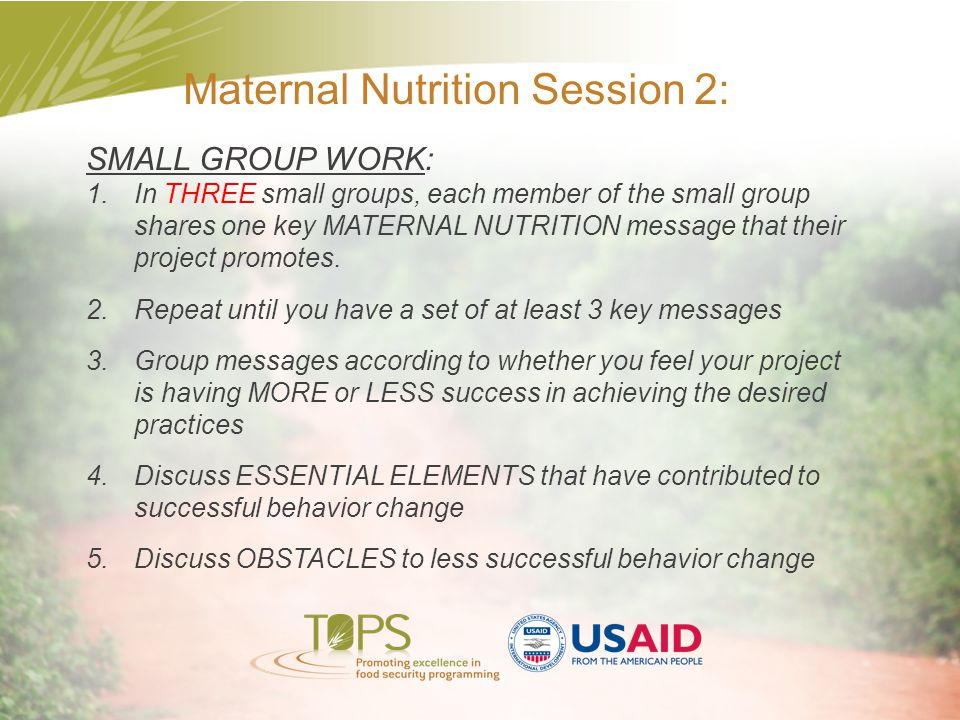 Maternal Nutrition Session 2: