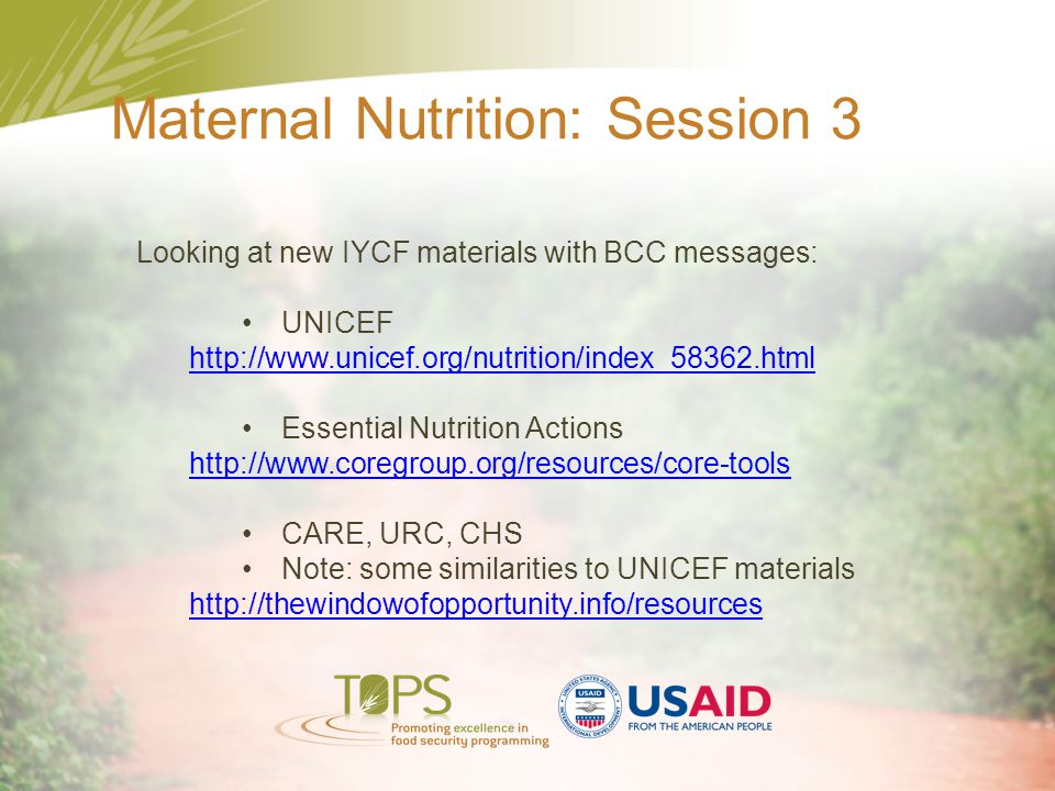 Maternal Nutrition: Session 3