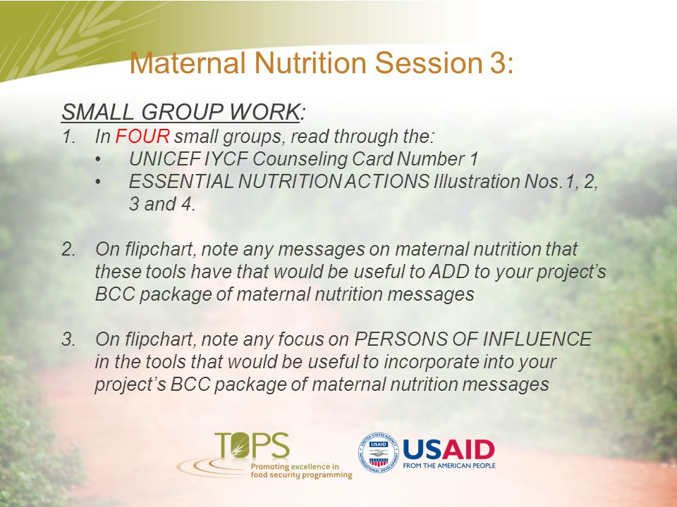 Maternal Nutrition Session 3: