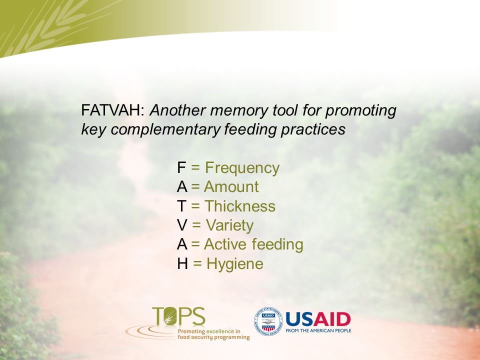 FATVAH: Another memory tool for promoting key complementary feeding practices