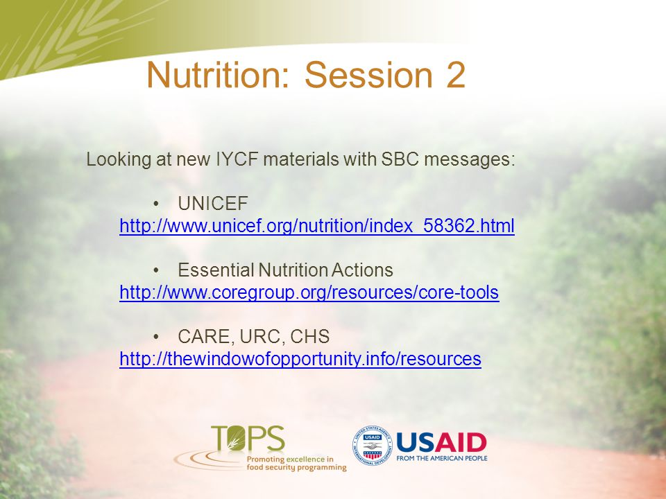 Nutrition: Session 2 Looking at new IYCF materials with SBC messages: