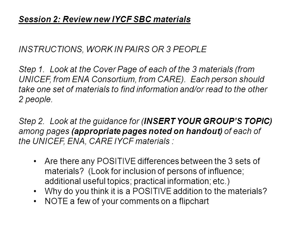 Session 2: Review new IYCF SBC materials