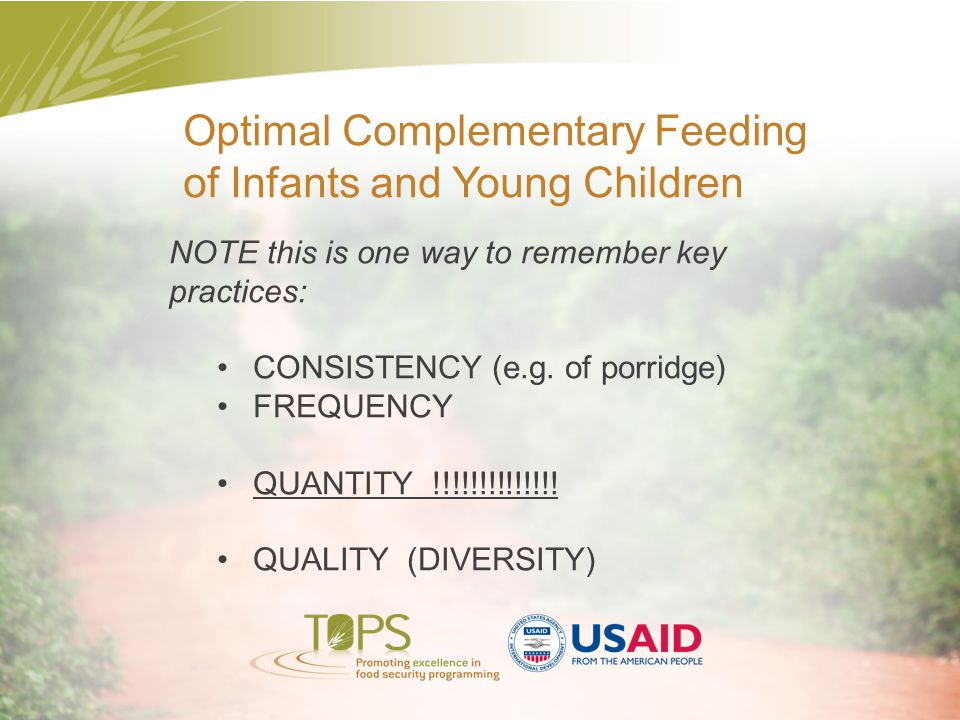 Optimal Complementary Feeding of Infants and Young Children
