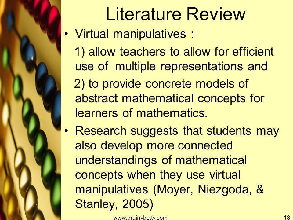 Literature Review Virtual manipulatives :
